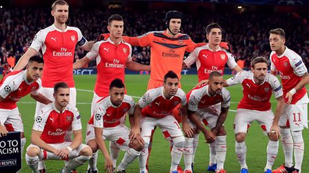 At least five of the players pictured here own or rent homes in Hampstead. (L-R) Arsenal team group.