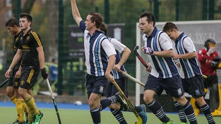 Alex Jakeman celebrates his winning goal for Hampstead & Wesminster. Pic: Mark Clews