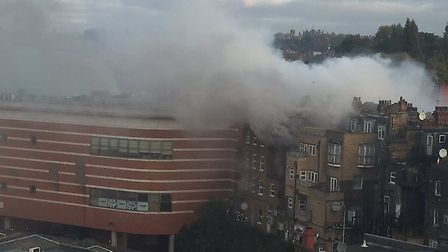 A building fire on the A41 Finchley Road near the O2 Centre has led to traffic queues (Picture: @mam