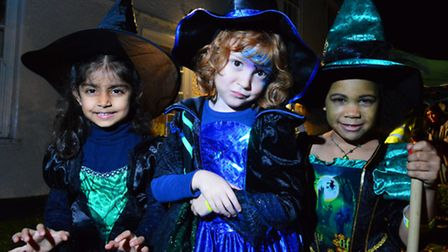 Sofia, 5, Jemima, 6, and Korede, 6, dress up for Lauderdale House's Hallowe'en Spooky Walk. Picture: