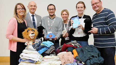 Part of the team who organised the Finchley Road fire donation drive, from left, O2 marketing manage