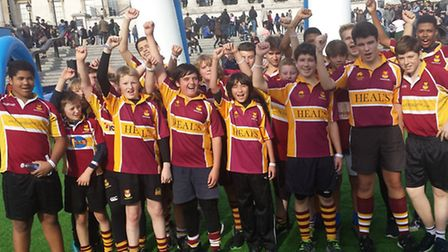 Members of the Hampstead Under-13 and Under-14 squads performed rugby drills in central London in th