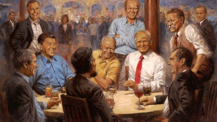 Andy Thomas�' painting of Donald Trump and former Republican presidents. Photograph: Andy Thomas