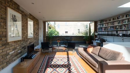 The dual aspect top-storey reception room at Michael Lewis's Murray Mews house