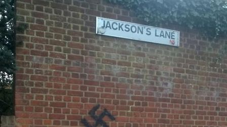 A swastika has been daubed onto a wall in Jackson's Lane, Highgate. Picture: Michael Israel