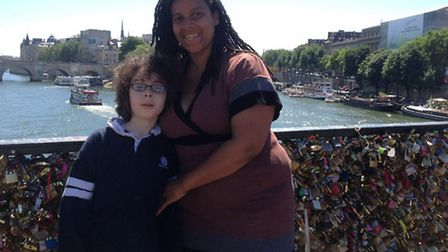Leila Roy in Paris with nine-year-old son Anton