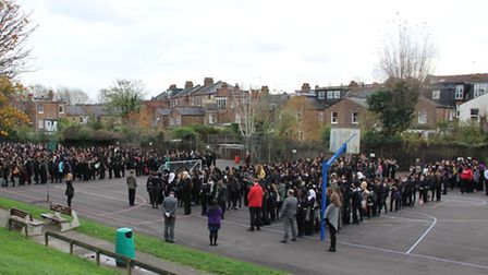 Hornsey School for Girls hold a two minute silence