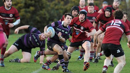 Nathan Ladd (centre) touched down but Belsize Park were defeated. Pic: Paolo Minoli