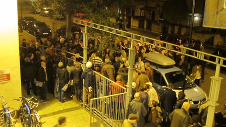 The crowd which turned up for the meeting in London Fields. Photo Molly Zerowski