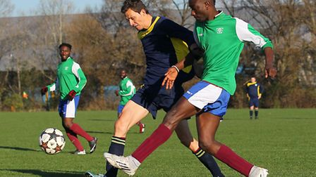 Bethune (blue) beat Young London Meteors 2-1 in the Dickie Davies Cup. Pic: Gavin Ellis/TGS Photo