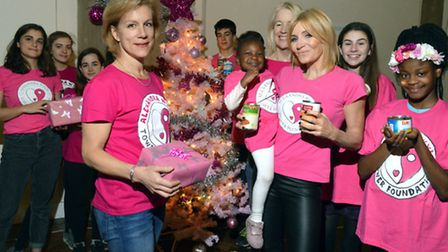 Actresses Juliet Stevenson and Michelle Collins with volunteers and Alexandra's mum Lindsey Wylie fr