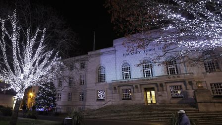 Hackney Town Hall lit up for Christmas