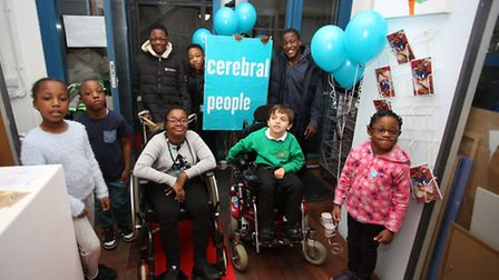 Young people with cerebral palsy at the premiere of the film they made