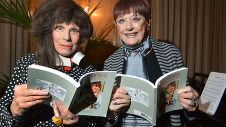 Carry On star Fenella Fielding and Angela Humphery at the All Dogs Matter auction and raffle. Pictur