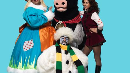 The cast of Jack and the Beanstalk - Clive Rowe as the Dame, Daisy the cow, Debbie Korup as Jack and