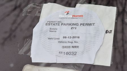 This resident's parking permit appeared to have been photocopied. Picture: Polly Hancock