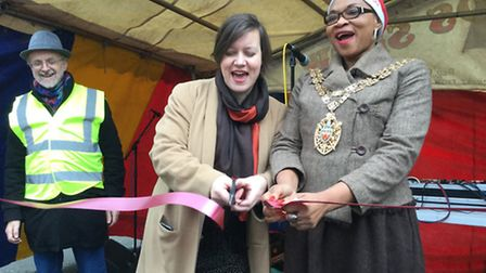 Cllr Ian Rathbone, MP Meg Hillier and Speaker Sade Etti at the launch of the Well Street Festival