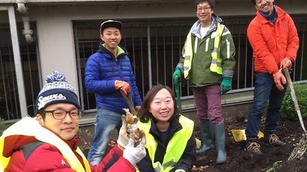 The group of tourists stepped in to help after an appeal for gardeners