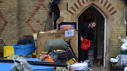 Squatters being evicted from Church Walk House in Barnet