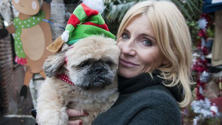 Michelle Collins with her rescue dog Humphrey at the All Dogs Matter Santa Paws Christmas Fair. Pict