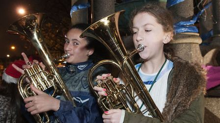 Gospel Oak School band and choir at the South End Green Christmas Festival. Picture: Nigel Sutton
