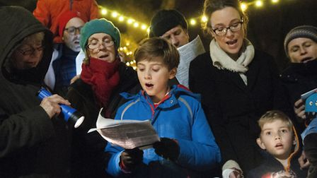 Highgate Society's carol concert in Pond Square with Highgate School's band and choir. Picture: Nige
