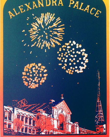 Ally Pally Fireworks screenprint by Lucy Chapman