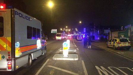 Police closed off the road on Saturday night