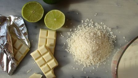 White chocolate and lime rice pudding. Picture: Tom Bissell