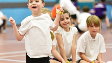 School children celebrate the Sport and Health Partnership fitness day by taking part in sporting activities at Water Lane...