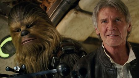 Chewbacca (Peter Mayhew) and Han Solo (Harrison Ford) in Star Wars: The Force Awakens. Picture: Luca