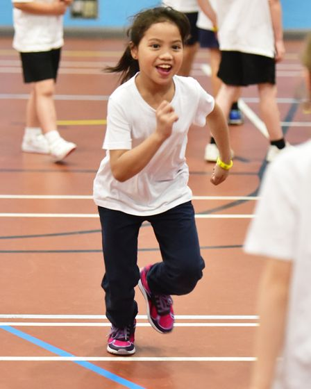 School children celebrate the Sport and Health Partnership fitness day by taking part in sporting ac
