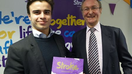 Thomas with Dr Peter Rawlinson, Trustee of the Stoke Association