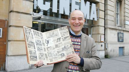 Michael Robert's at the Hackney picturehouse with his scrap book of old Hackney Gazette movie poster