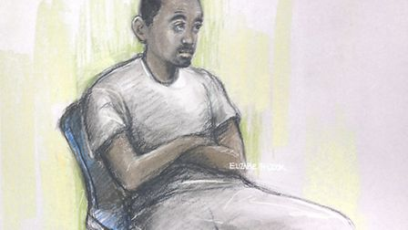 A court artist sketch of Muhaydin Mire appearing at Westminster Magistrates' Court (Picture: Elizabe