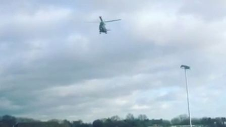 The helicopter landed briefly on Hampstead Heath before flying off again