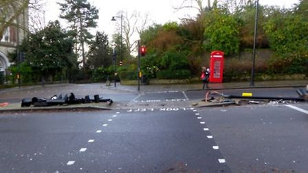 The aftermath of the Highgate Hill crash