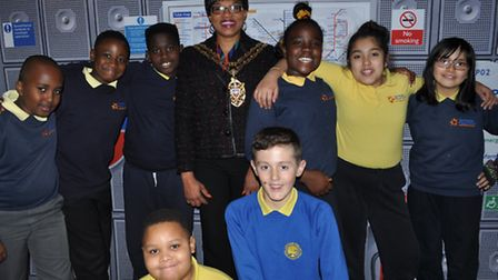 Cllr Etti with children from Morningside and London Fields Primary schools