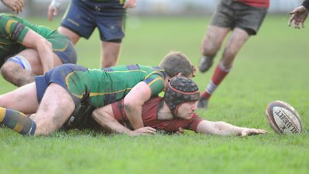 Joe Woolley reaches out to score UCS Old Boys' late fourth try and earn his team a bonus point. Pic: