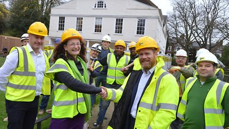 Builders from local firm Rooff with Lauderdale House director Katherine Ives. Picture: Polly Hancock