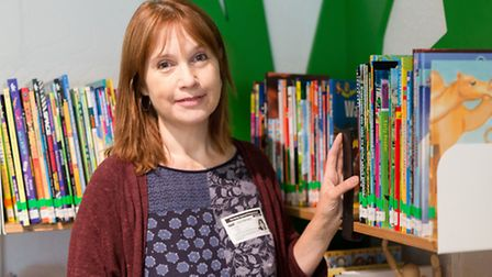 Author and illustrator, Jane Ray in the new library at Betty Layward Primary School in Hackney.