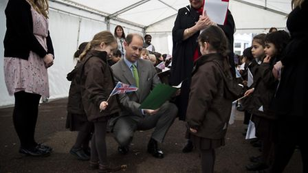 Prince Edward meets young Channing School pupils during the royal visit to officially open the schoo