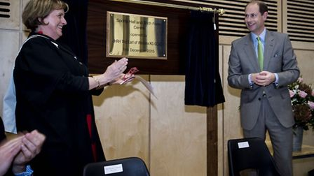 Prince Edward officially opens the school's �13million new sixth-form centre and sports hall, with h