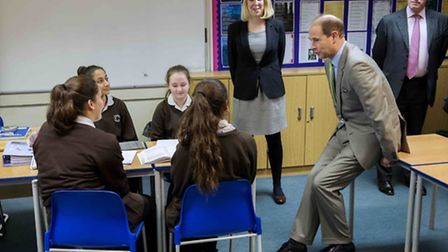 Prince Edward meets Channing School pupils during the royal visit to officially open the school's �1