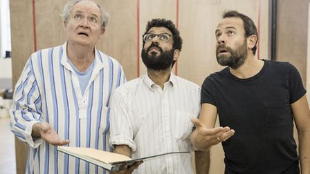 Jim Broadbent, Adeel Akhtar and Keir Charles in rehearsals for A Christmas Carol. Picture: Marc Bren