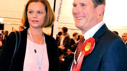 Keir Starmer arrives with his wife Victoria at the election count. Picture: Polly Hancock