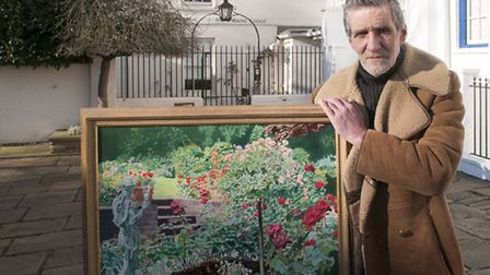 Dennis McGuiness former gardener at Grove Lodge pictured with a painting of the garden by John Cross