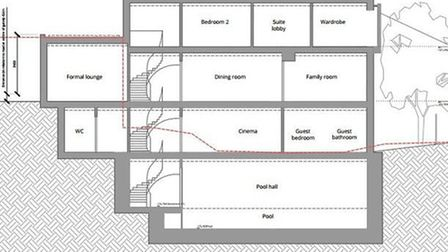 Plans for the three-storey basement