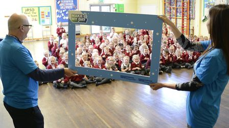Pupils from Pakefield Primary School are surprised during the special visit. Picture: Courtesy of Essex & Suffolk Water