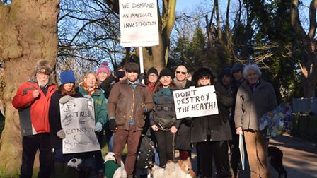 Heath lovers hold a 'protest party' on the first anniversary of the Heath Dams Project getting the g